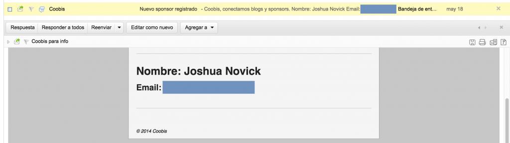 JOSHUA NOVICK SE REGISTRA EN COOBIS COMO SPONSOR MARCA 18 MAYO 2015 - ok