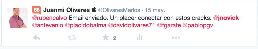 TWEET OLIVARESMERLOS A JOSHUA NOVICK 15 MAYO 2015